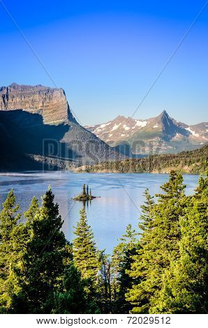 Vertical Landscape View Of Mountain Range In Glacier Np, Usa