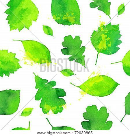 Green watercolor painted leaves seamless pattern