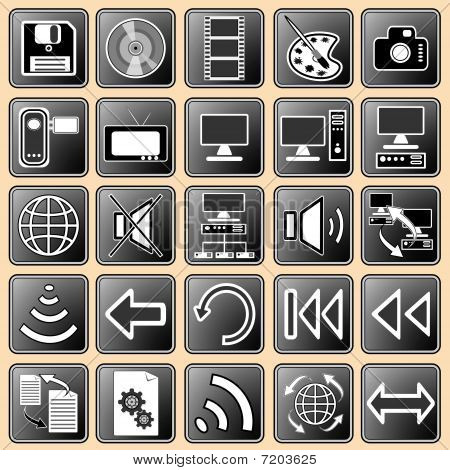 Set Darkly - White Buttons With Web Icons For The Internet (3).eps