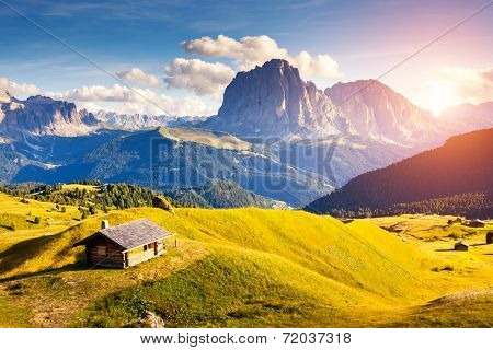 Great view on the Sassolungo (Langkofel) and Sella group, valley Gardena. National Park Dolomites, South Tyrol. Location Ortisei, S. Cristina and Selva, Italy, Europe. Dramatic scene. Beauty world.