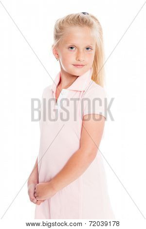 Beautiful girl six years. Isolated on white. Girl is six years old.