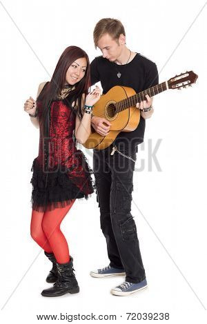 Young couple in dance music. Interracial young couple, Asian woman and Caucasian man.