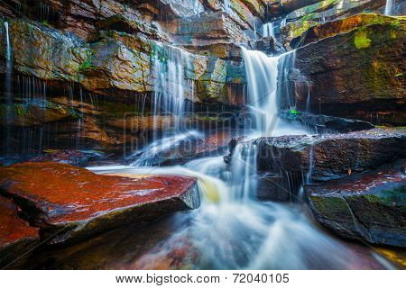 Tropical waterfall. Popokvil Waterfall, Bokor National Park, Cambodia