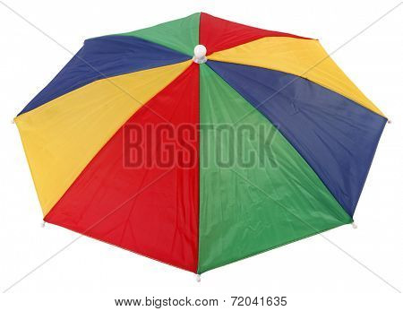 Colorful top of umbrella hat or head parasol