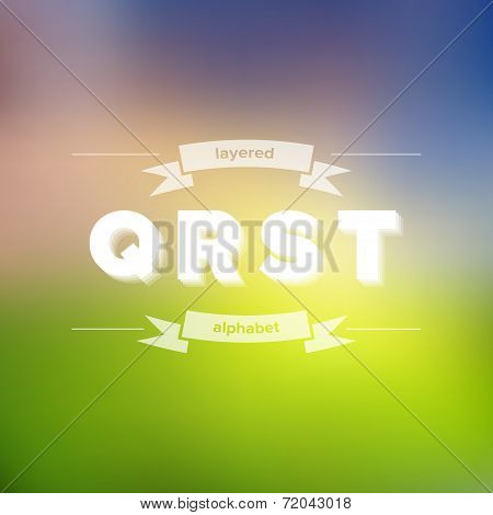 Q R S T Flat Layered Alphabet On Blurred Background