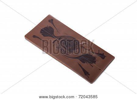 Studio shot of milk chocolate bar with pattern