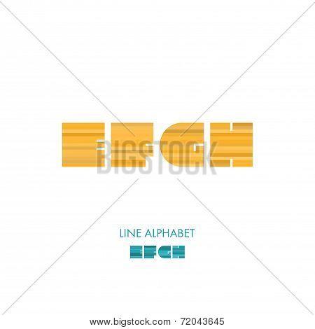 E F G H - Simple Modern Lines Flat Alphabet