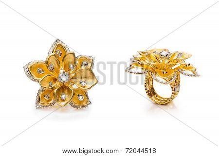 Diamond rings on white background