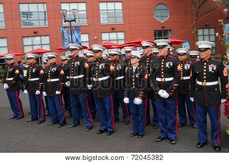 United States Marines at Billie Jean King National Tennis Center before unfurling the American flag