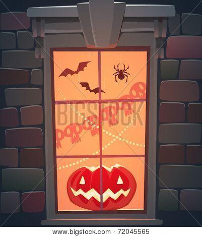 Window. Halloween poster \ background \ card. Vector illustration.