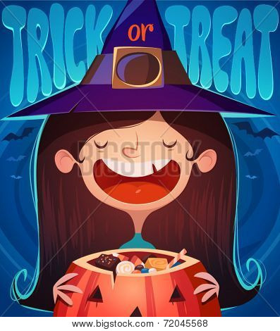 Little cute witch. Halloween poster \ background \ card. Vector illustration.