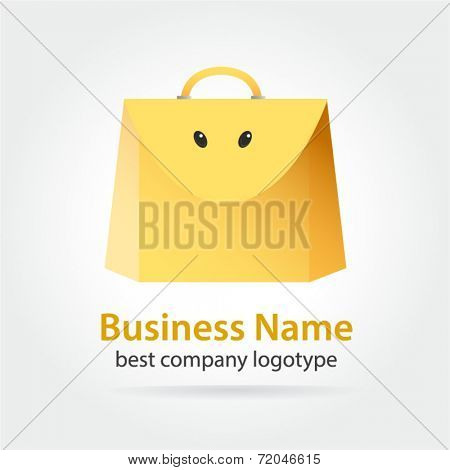 Funny yellow colored vector bag icon for shopping design