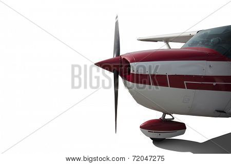 Close-up of red and white striped seaplane