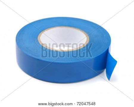 Blue electrical  insulating tape isolated on white