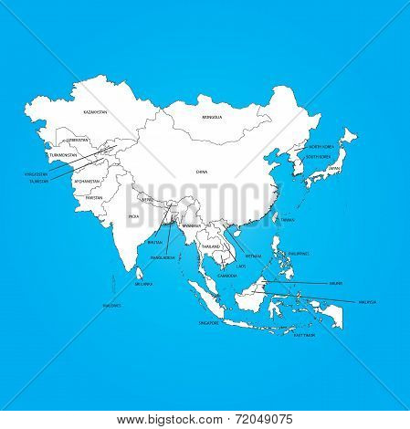 Outline On Clean Background Of The Continent Of Asia