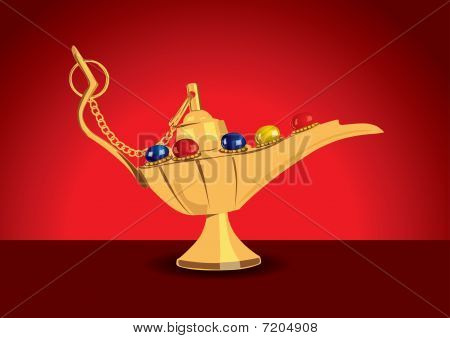 Detailed vector illustration of aladdin's magic lamp with pearls