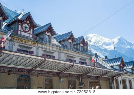 CHAMONIX, FRANCE - SEPTEMBER 02: Facade of Chamonix train station, with Mont Blanc in the background. The city is one of the stages in the popular Mont Blanc tour. September 02, 2014 in Chamonix.