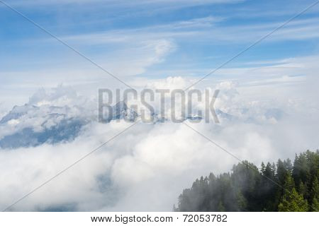 Cloudy L'Arpille Mountain seen from La Giete, in Switzerland, with misty pine trees in the foreground.