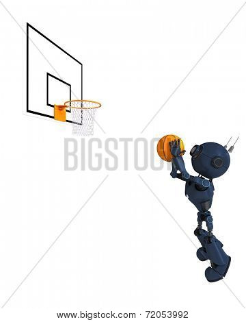 3D Render of an Android Basketball Player