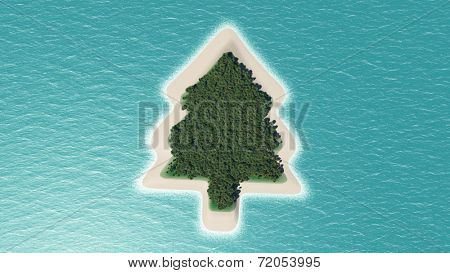 3D render of a tropical island shaped like a Christmas tree