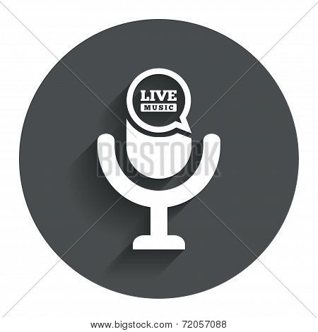Microphone icon. Speaker symbol. Live music sign