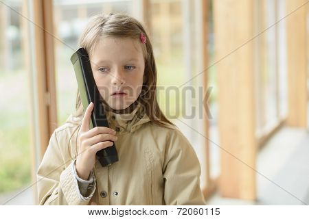 Young Girl With Mobile Electronic Guide