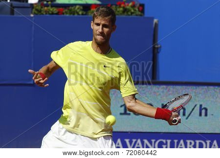 BARCELONA - APRIL, 23: Slovakian tennis player Martin Klizan in action during a match of Barcelona tennis tournament Conde de Godo on April 23, 2014 in Barcelona