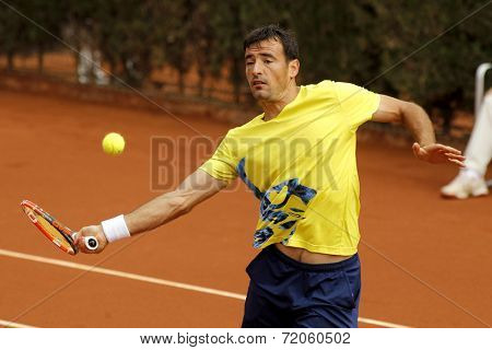 BARCELONA - APRIL, 22: Croatian tennis player Ivan Dodig in action during a match of Barcelona tennis tournament Conde de Godo on April 22, 2014 in Barcelona