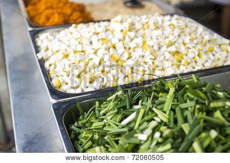 Chinese Leek,slice Tofu,chinese Salted Radish,mashed Peanut