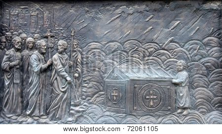SKOPJE, MACEDONIA - MAY 16: Monument of St. Cyril and Methodius  in downtown of Skopje, Macedonia on May 16, 2013