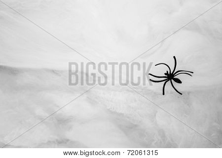 Toy Black Spider Over A White Webbing With Copy Space