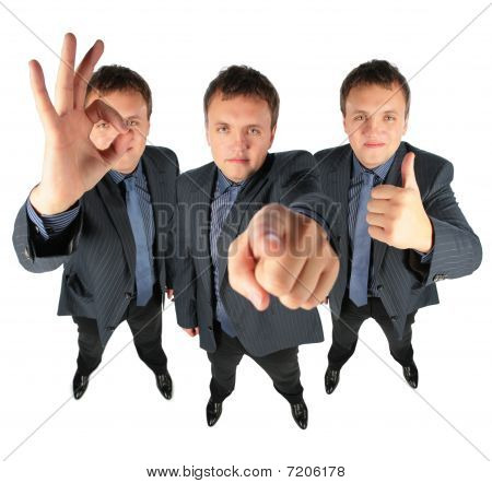 Three Businessmen, Two With Ok Gesture And One Showing To You, Collage