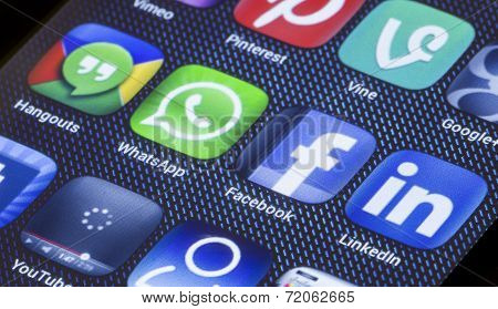 Belgrade - July 05, 2014 Popular Social Media Icons Facebook Whatsapp And Other On Smart Phone Scree
