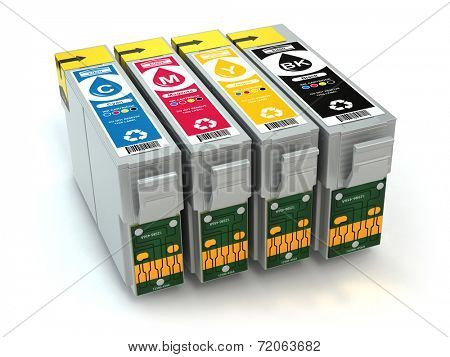 CMYK. Cartridges for colour inkjet printer. 3d
