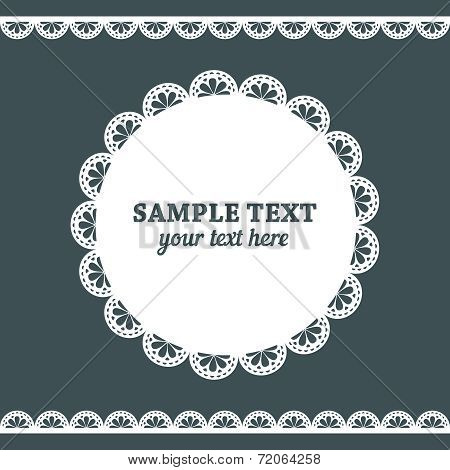 Set of lace frame doily and ribbons border in white color isolated on dark grey background