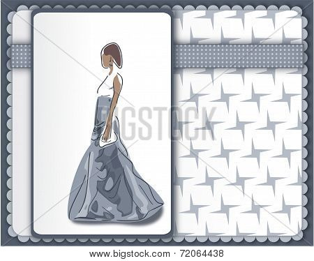 Cool Greeting Card With Elegant Woman In Grey Ballgown