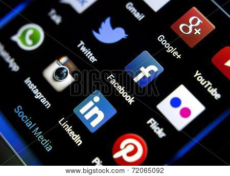Belgrade - February 04, 2014: Popular Social Media Icons On Smartphone Screen