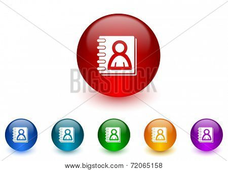 address book internet icons colorful set