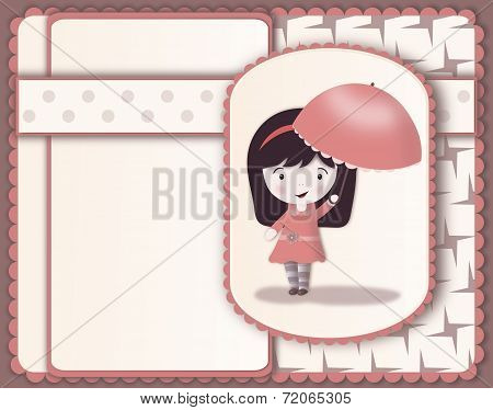 Pretty Girl With Parasol Card-layered Image