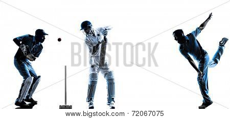 Cricket players in silhouette shadow on white background