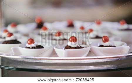 Tasty cupcakes in pastry shop