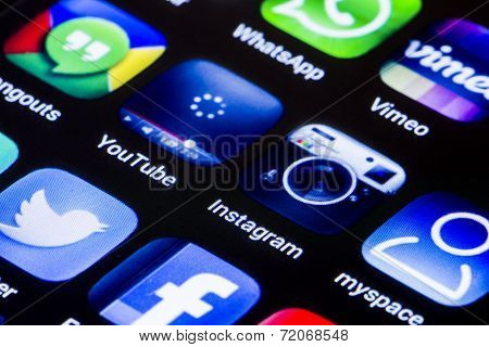 Belgrade - June 23, 2014 Popular Social Media Icons Youtube Instagram And Other On Smart Phone Scree
