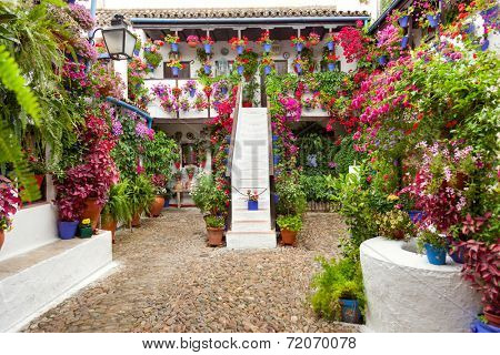 Courtyard with Flowers decorated  - Cordoba Patio Fest, Spain, Europe - 10 of May, 2013