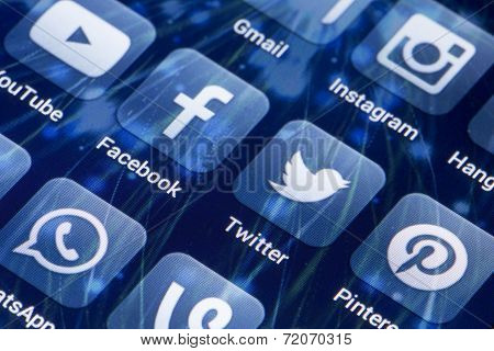 Belgrade - May 28, 2014 Social Media Icons Facebook, Twitter And Other On Smart Phone Screen
