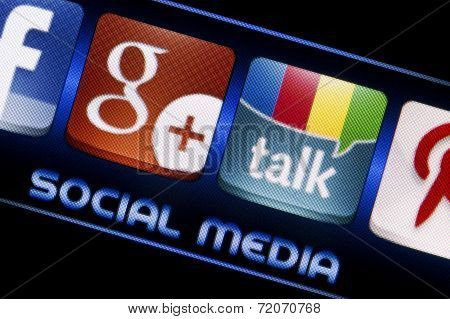 Belgrade - September 09, 2014 Social Media Icons Google Talk And Google Plus On Smart Phone Screen C