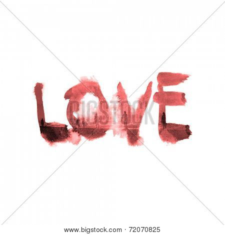 Smudged grungy handwritten or painted word - Love - in uppercase calligraphy on white paper with blotches from tears or moisture in a conceptual image of love and romance
