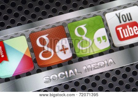 Belgrade - August 30, 2014 Social Media Icons Hangouts, Google Plus And Other On Smart Phone Screen