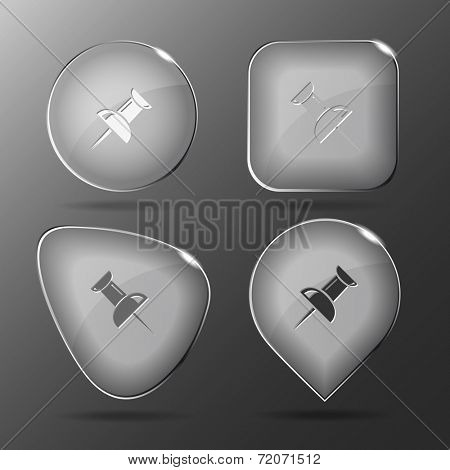 Push pin. Glass buttons. Vector illustration.