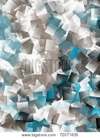Abstract Cubist Background - In Blue,white And Brown
