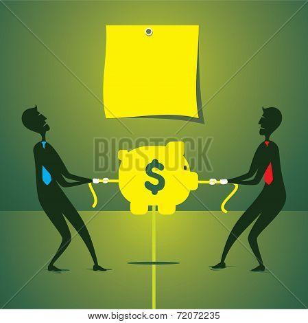 men fight for money or saving money concept vector